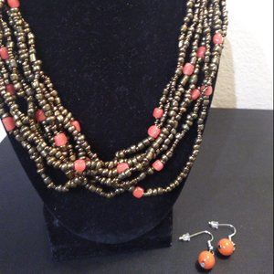 Bronze beads w/corral necklace